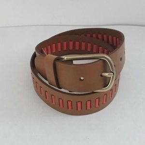 Fossil Tan Orange leather belt. Size medium